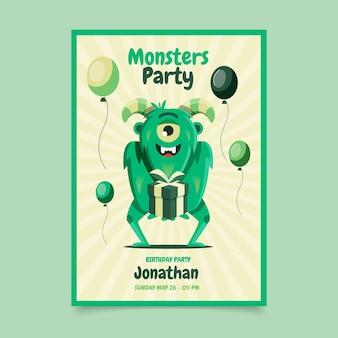 Platte monsters verjaardag uitnodiging sjabloon