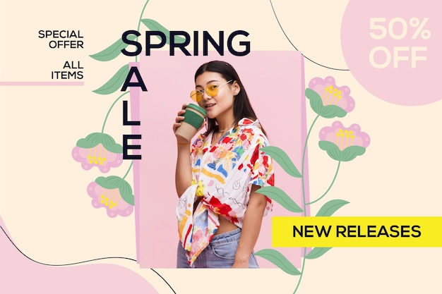 Platte mooie lente verkoop achtergrond met foto