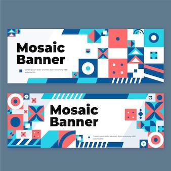 Platte mozaïek horizontale banners set
