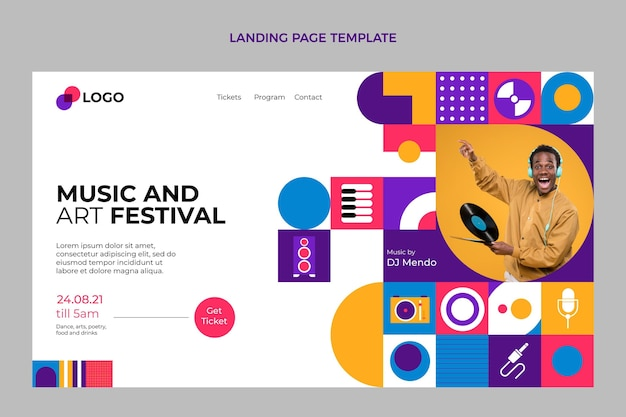 Platte mozaïek muziekfestival bestemmingspagina