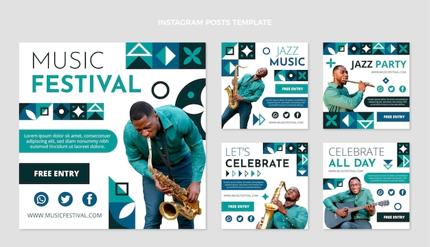 Platte mozaïek muziekfestival instagram berichten collectie