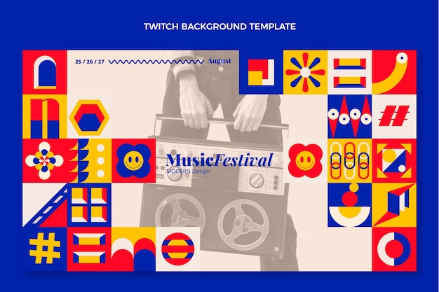Platte mozaïek muziekfestival twitch achtergrond