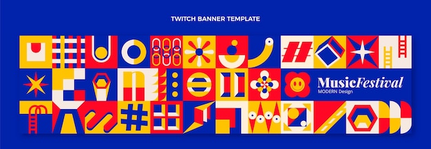 Platte mozaïek muziekfestival twitch banner