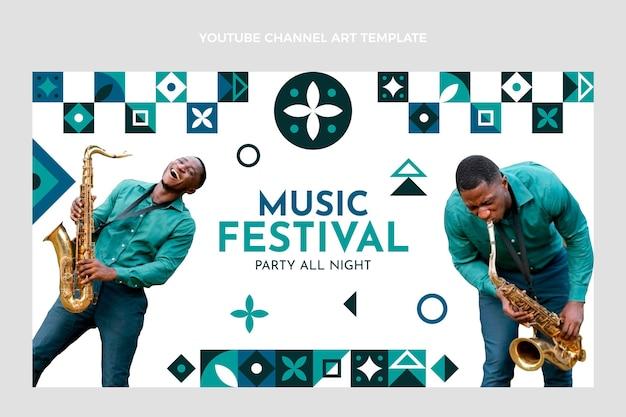 Platte mozaïek muziekfestival youtube-kanaalkunst Gratis Vector