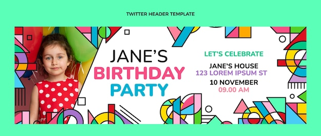 Platte mozaïek verjaardag twitter header
