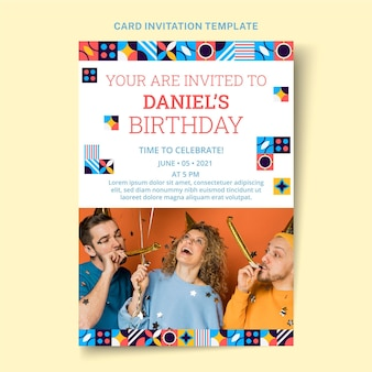 Platte mozaïek verjaardagsuitnodiging