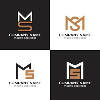 Platte ms logo sjablonen set Premium Vector