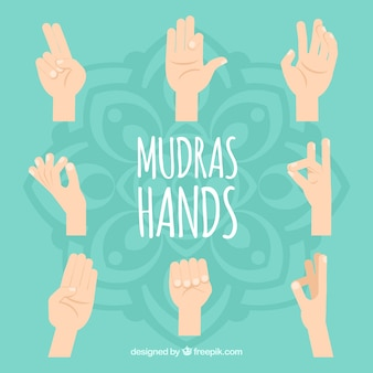 Platte mudras handen collectie