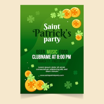 Platte munten st. patrick's day flyer-sjabloon