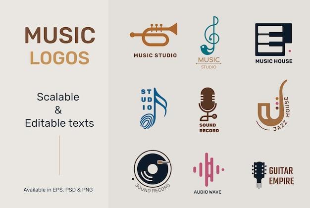 Platte muziek logo vector met bewerkbare tekst set