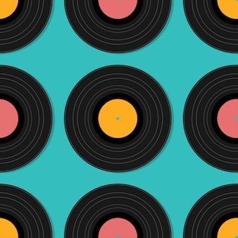 Platte muziek vintage vinyl naadloze plaat geïsoleerde vectorillustratie. retro abstracte ontwerpsjabloon. feestaffiche.