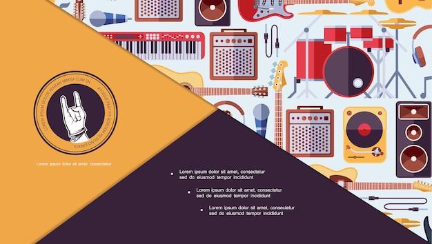 Platte muziekinstrumenten kleurrijke dia samenstelling