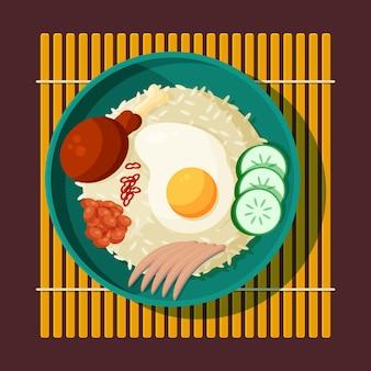Platte nasi lemak illustratie