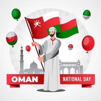 Platte nationale dag van oman illustratie