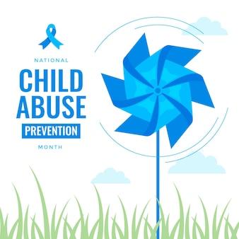 Platte nationale kindermishandeling preventie maand illustratie