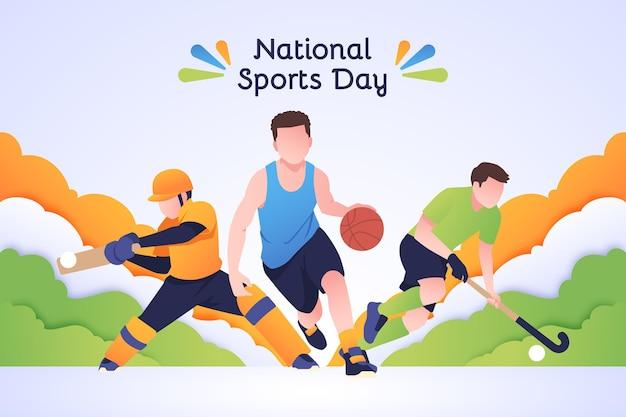 Platte nationale sportdag illustratie