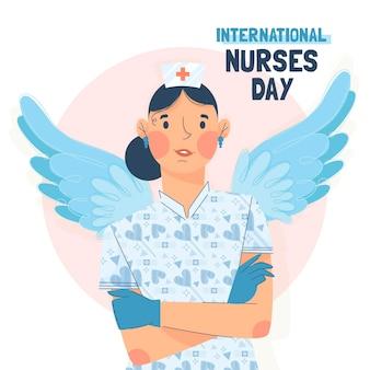 Platte nationale verpleegsters dag illustratie