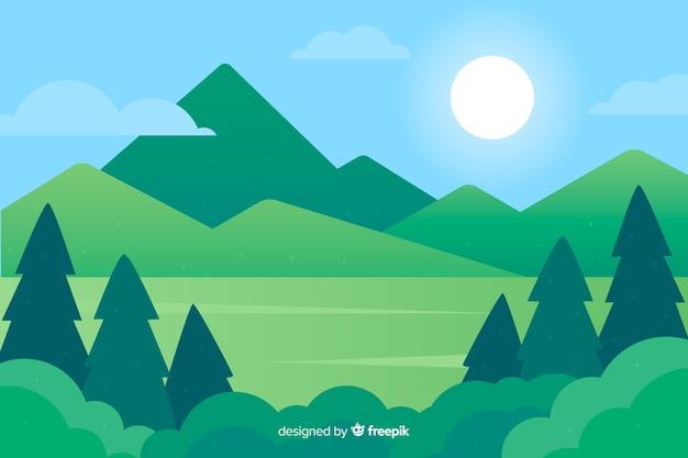 Platte natuurlijke achtergrond met landschap