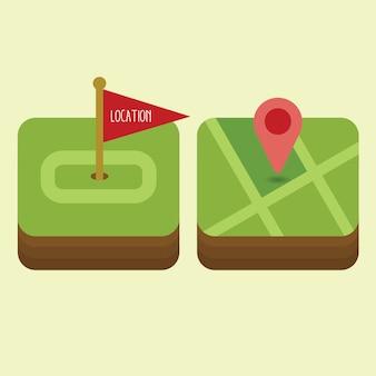 Platte navigatie icon set