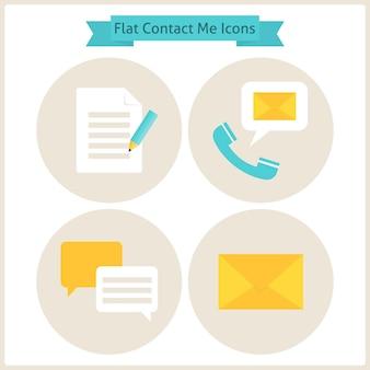 Platte neem contact met mij op website icons set. set zakelijke website-objecten. vectorillustratie. platte cirkelpictogrammen voor web. contact en over mij office objects.