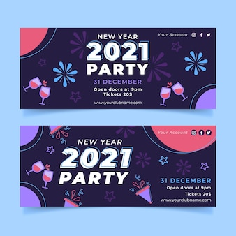 Platte nieuwe jaar 2021 partij banners sjabloon