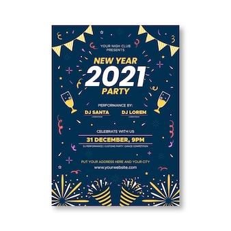 Platte nieuwe jaar 2021 partij flyer-sjabloon