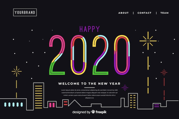 Platte nieuwe jaar bestemmingspagina met achtergrond