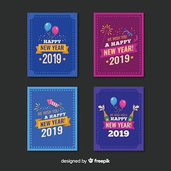 Platte nieuwe jaarkaartenverzameling