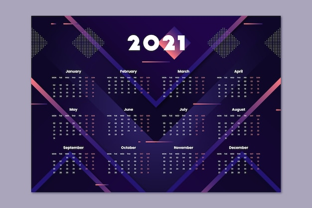 Platte nieuwe jaarkalender 2021