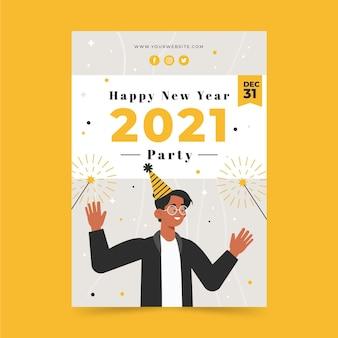 Platte nieuwjaar verticale postersjabloon