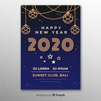 Platte nieuwjaarsfeest poster ontwerpsjabloon