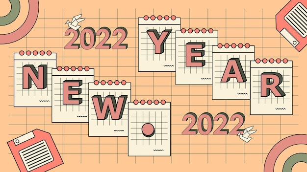 Platte nostalgische 90's gelukkig nieuwjaar 2022 achtergrond