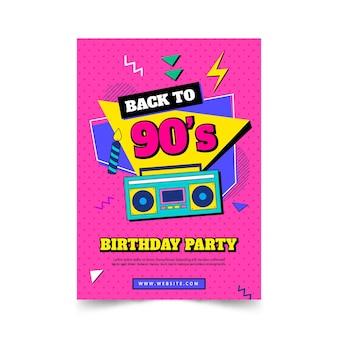 Platte nostalgische 90's verjaardagsuitnodiging