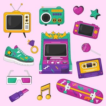 Platte nostalgische elementencollectie uit de jaren 90