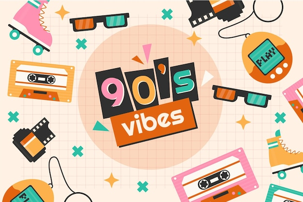 Platte nostalgische jaren 90 achtergrond