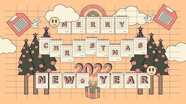 Platte nostalgische jaren 90 prettige kerstdagen en gelukkig nieuwjaar2022 achtergrond