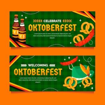 Platte oktoberfest horizontale banners set Gratis Vector