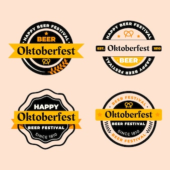 Platte oktoberfest labels collectie
