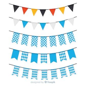 Platte oktoberfest slingercollectie met blauwe vormen