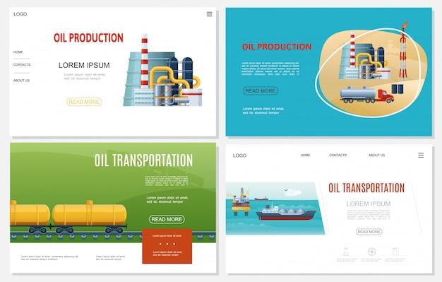 Platte olie-industrie websites ingesteld met raffinaderij plant spoorweg benzine tanks vrachtwagen boortoren tanker schip zee booreiland