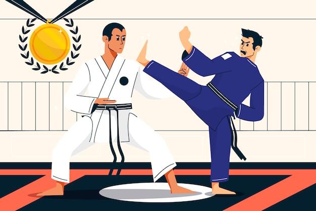 Platte olympische spelen 2021 illustratie