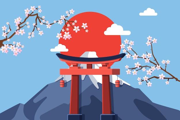 Platte olympische spelen van 2021 op de achtergrond van japan