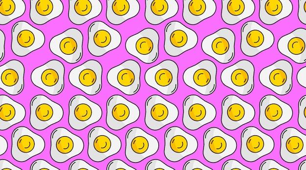 Platte omelet naadloze patroon achtergrond vector