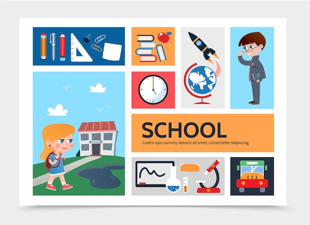 Platte onderwijs infographic sjabloon