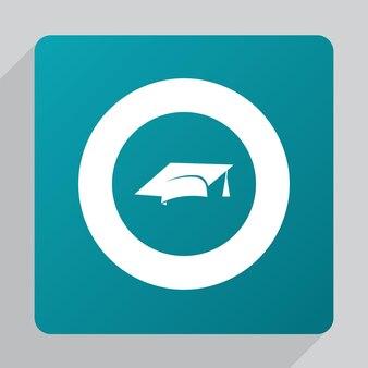 Platte onderwijspictogram, wit op groene achtergrond