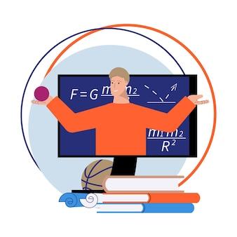 Platte online begeleidingssamenstelling met boeken en wiskundeleraar op computerscherm