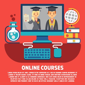 Platte online cursussen afgestudeerden vector concept
