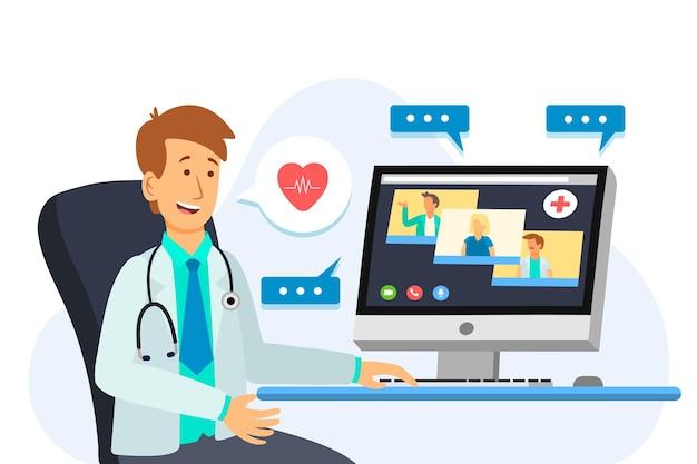 Platte online medische conferentie illustratie