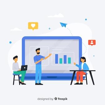 Platte online onderwijs concept achtergrond