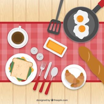 Platte ontbijt illustratie